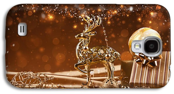 Christmas Reindeer In Gold Galaxy S4 Case by Doc Braham