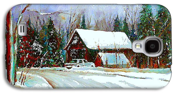 Christmas Trees Cozy Country Cabin Painting Winter Scene Quebec Painting Canadian Art Cspandau Galaxy S4 Case by Carole Spandau