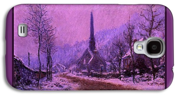 Church At Jeufosse Snowy Weather Enhanced Triple Border Galaxy S4 Case by Claude Monet - L Brown