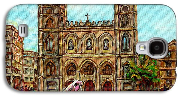 Church Paintings Old Montreal Notre Dame Basilica Cspandau Heritage Montreal Artist City Scenes  Galaxy S4 Case by Carole Spandau