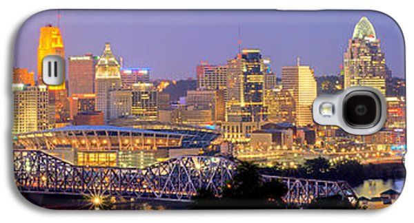 Cincinnati Skyline At Dusk Sunset Color Panorama Ohio Galaxy S4 Case by Jon Holiday