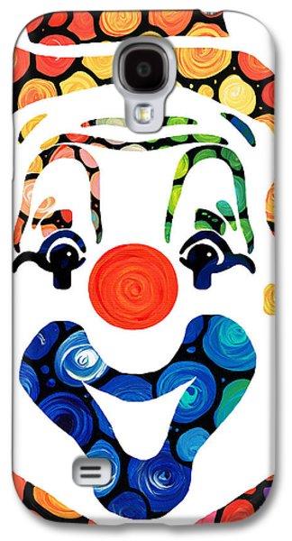 Clownin Around - Funny Circus Clown Art Galaxy S4 Case by Sharon Cummings