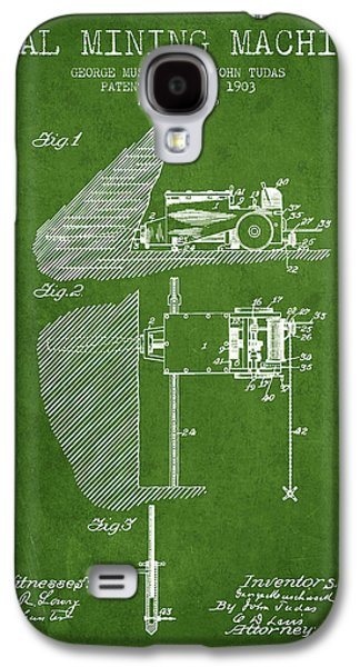 Coal Mining Machine Patent From 1903- Green Galaxy S4 Case by Aged Pixel