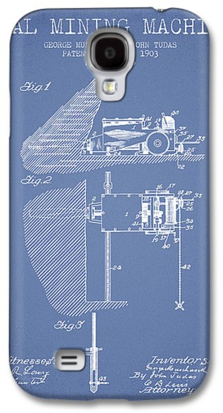 Coal Mining Machine Patent From 1903- Light Blue Galaxy S4 Case by Aged Pixel