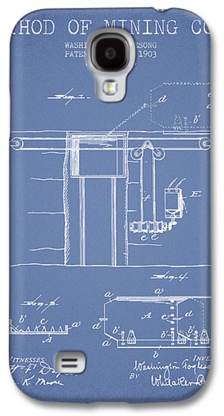 Coal Mining Patent From 1903- Light Blue Galaxy S4 Case by Aged Pixel