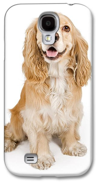 Cocker Spaniel Dog Isolated On White Galaxy S4 Case by Susan Schmitz