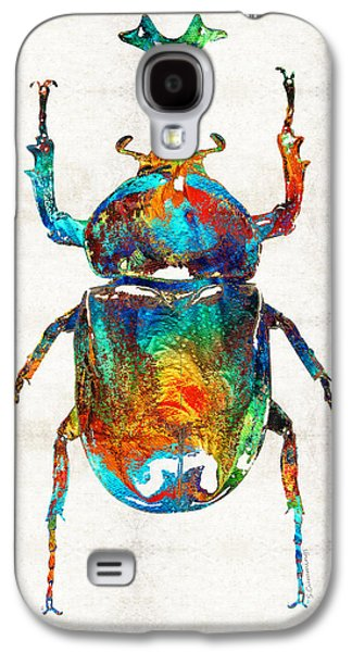 Colorful Beetle Art - Scarab Beauty - By Sharon Cummings Galaxy S4 Case by Sharon Cummings