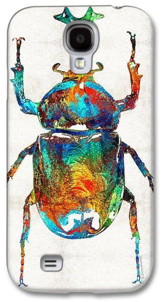 Beetle Galaxy S4 Case - Colorful Beetle Art - Scarab Beauty - By Sharon Cummings by Sharon Cummings
