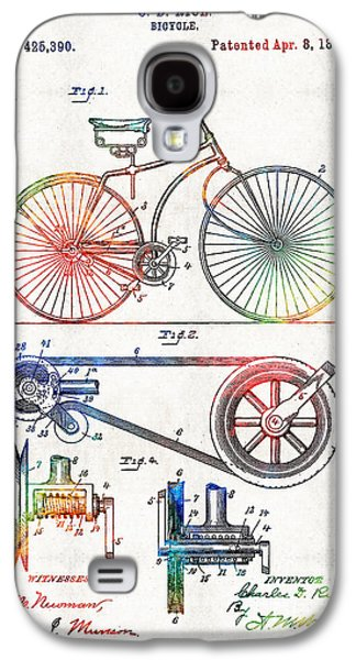 Colorful Bike Art - Vintage Patent - By Sharon Cummings Galaxy S4 Case by Sharon Cummings