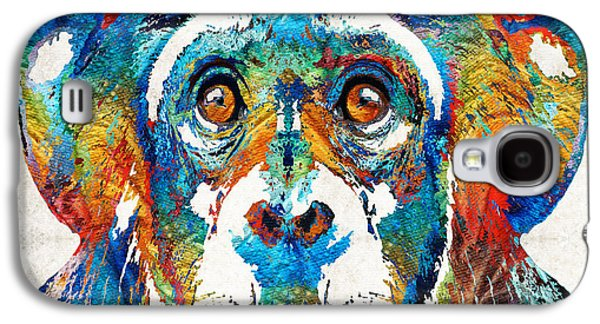 Colorful Chimp Art - Monkey Business - By Sharon Cummings Galaxy S4 Case by Sharon Cummings