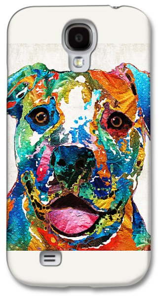 Colorful Dog Pit Bull Art - Happy - By Sharon Cummings Galaxy S4 Case by Sharon Cummings