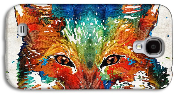 Colorful Fox Art - Foxi - By Sharon Cummings Galaxy S4 Case by Sharon Cummings