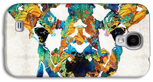 Colorful Giraffe Art - Curious - By Sharon Cummings Galaxy S4 Case by Sharon Cummings