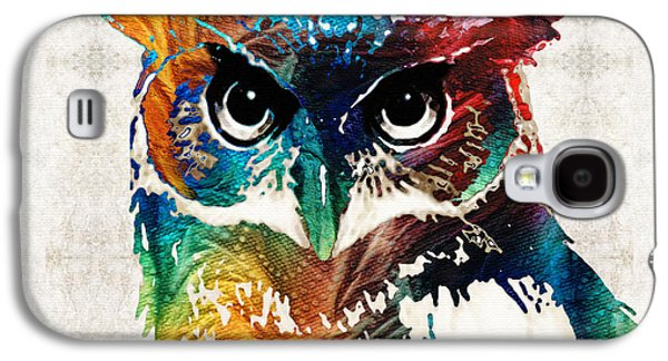 Colorful Owl Art - Wise Guy - By Sharon Cummings Galaxy S4 Case by Sharon Cummings
