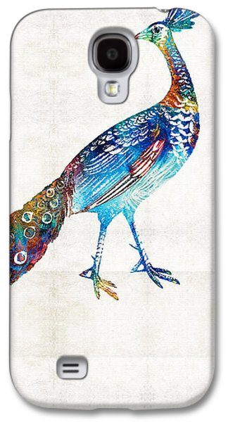 Peacock Galaxy S4 Case - Colorful Peacock Art By Sharon Cummings by Sharon Cummings