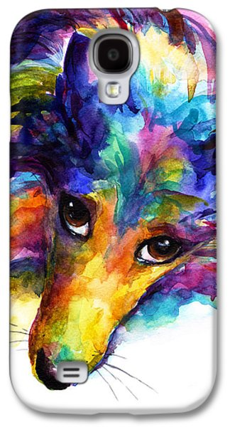 Colorful Sheltie Dog Portrait Galaxy S4 Case by Svetlana Novikova