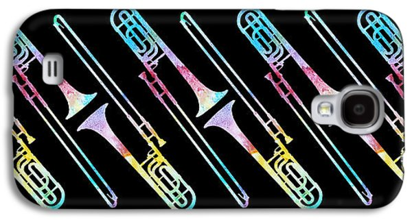 Trombone Galaxy S4 Case - Colorwashed Trombones by Jenny Armitage