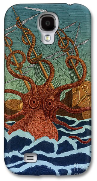 Colossal Octopus Attacking Ship 1801 Galaxy S4 Case by Science Source