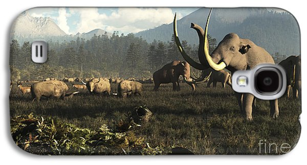Columbian Mammoths And Bison Roam Galaxy S4 Case by Arthur Dorety