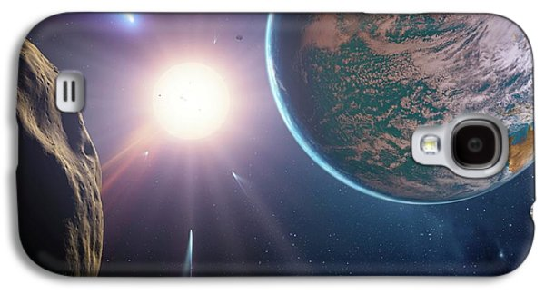 Comet Approaching Earth-like Planet Galaxy S4 Case by Detlev Van Ravenswaay