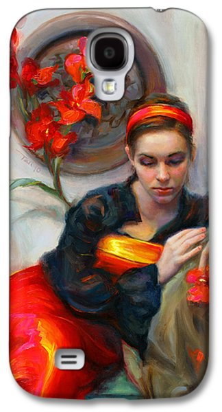 Common Threads - Divine Feminine In Silk Red Dress Galaxy S4 Case by Talya Johnson