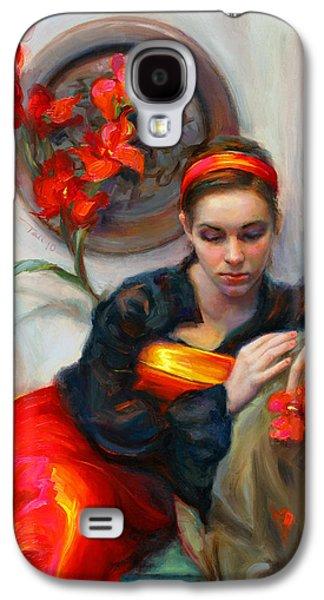 Common Threads - Divine Feminine In Silk Red Dress Galaxy S4 Case