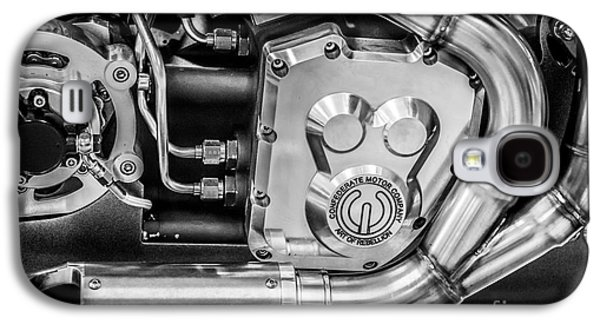 Confederate Motorcycle B120 Wraith Engine And Exhaust Pipe - Black And White Galaxy S4 Case by Ian Monk