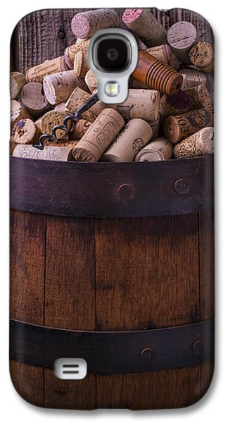 Corkscrew And Corks On Wine Barrel Galaxy S4 Case by Garry Gay