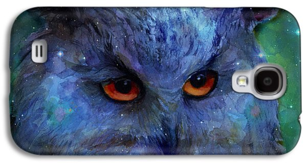 Cosmic Owl Painting Galaxy S4 Case by Svetlana Novikova