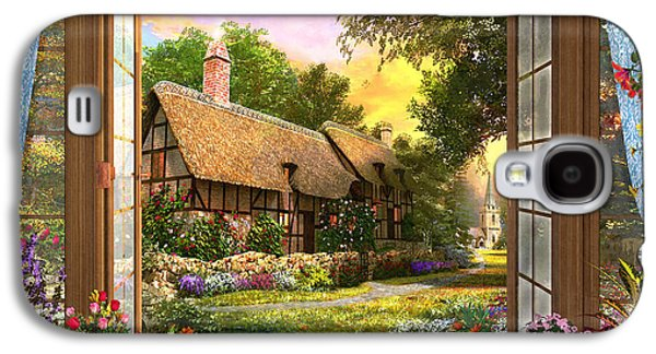 Galaxy S4 Case featuring the drawing Country Cottage View by Dominic Davison