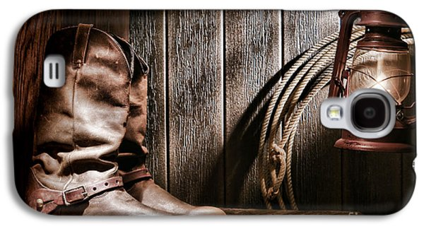Cowboy Boots In Old Barn Galaxy S4 Case by Olivier Le Queinec
