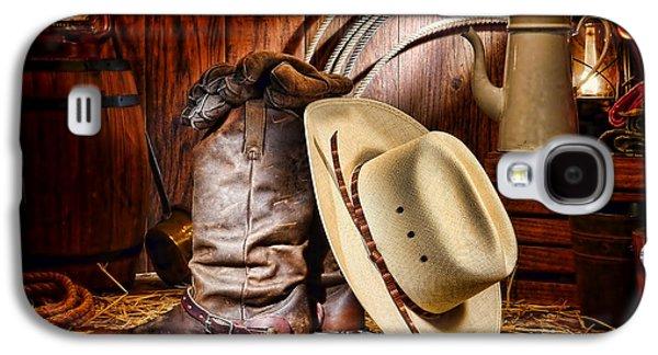 Folklore Galaxy S4 Cases - Cowboy Gear Galaxy S4 Case by Olivier Le Queinec