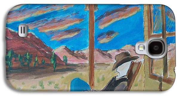 Cowboy Sitting In Chair At Sundown Galaxy S4 Case