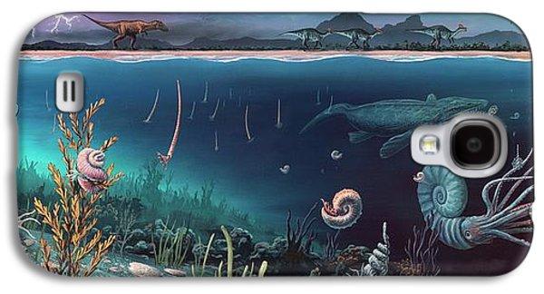 Cretaceous Land And Marine Life Galaxy S4 Case by Richard Bizley