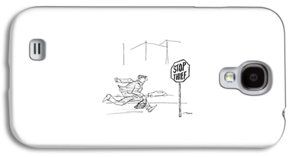 Criminal Runs Past Stop Sign Reading Stop Thief Galaxy S4 Case