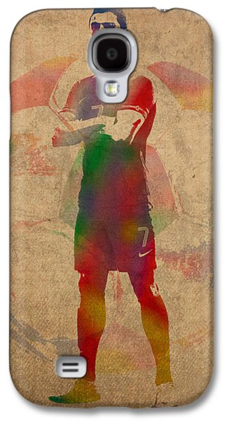 Cristiano Ronaldo Soccer Football Player Portugal Real Madrid Watercolor Painting On Worn Canvas Galaxy S4 Case
