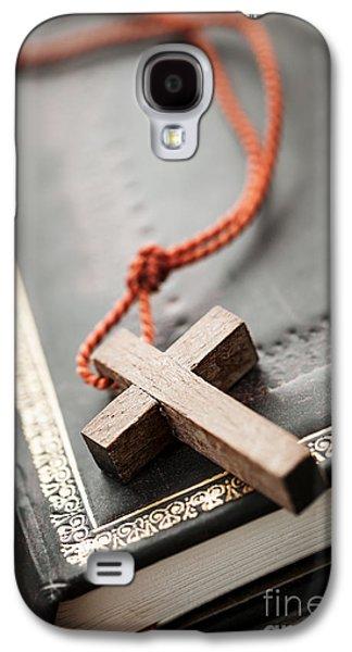Cross On Bible Galaxy S4 Case by Elena Elisseeva