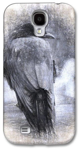 Crow Sketch Painterly Effect Galaxy S4 Case by Carol Leigh