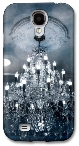 Crystal Chandelier Photo - Sparkling Twinkling Lights Elegant Romantic Blue Chandelier Photograph Galaxy S4 Case by Kathy Fornal