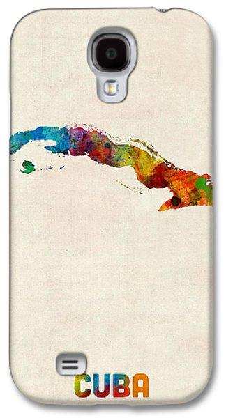 Cuba Watercolor Map Galaxy S4 Case by Michael Tompsett