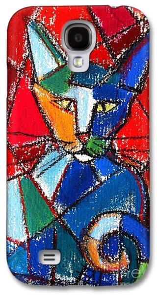 Cubist Colorful Cat Galaxy S4 Case by Mona Edulesco
