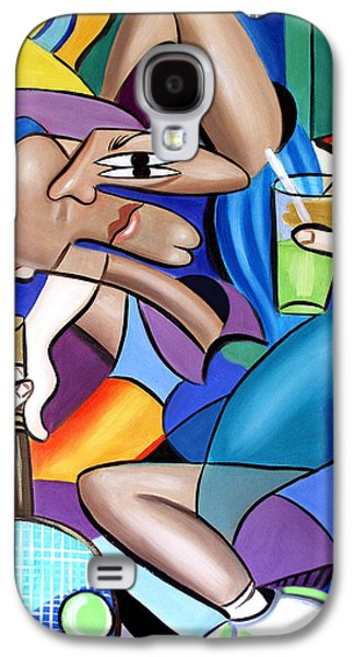 Cubist Tennis Player Galaxy S4 Case by Anthony Falbo