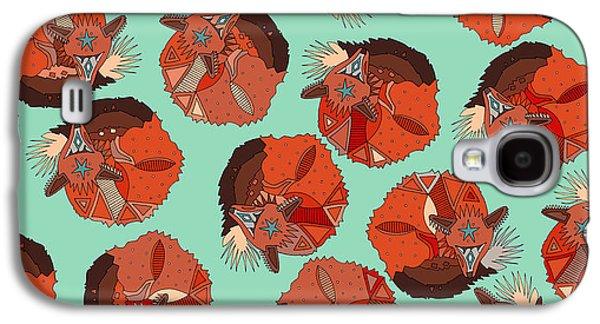 Curled Fox Polka Mint Galaxy S4 Case by Sharon Turner