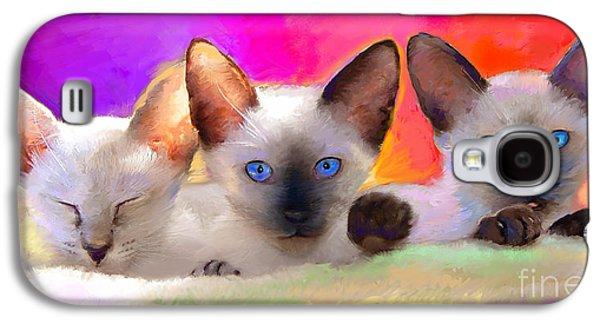 Cute Siamese Kittens Cats  Galaxy S4 Case by Svetlana Novikova