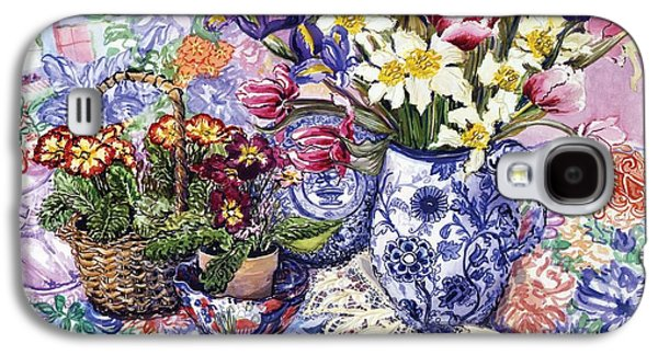 Daffodils Tulips And Iris In A Jacobean Blue And White Jug With Sanderson Fabric And Primroses Galaxy S4 Case by Joan Thewsey