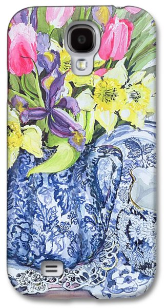 Daffodils Tulips And Irises With Blue Antique Pots  Galaxy S4 Case by Joan Thewsey