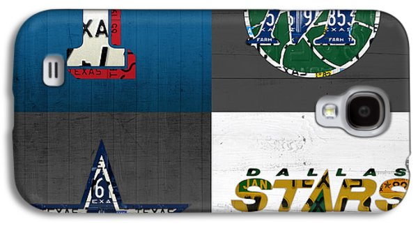 Dallas Sports Fan Recycled Vintage Texas License Plate Art Rangers Mavericks Cowboys Stars Galaxy S4 Case