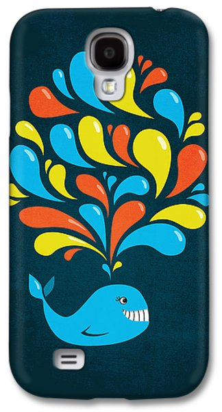 Dark Colorful Splash Happy Cartoon Whale Galaxy S4 Case by Boriana Giormova