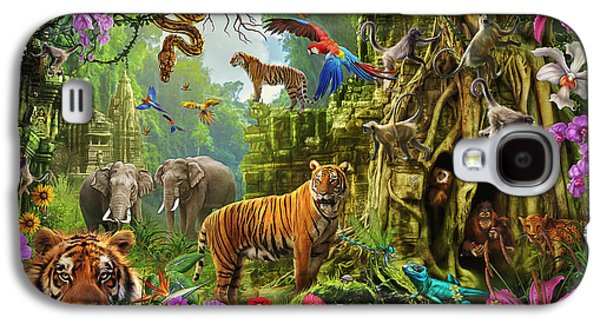 Galaxy S4 Case featuring the drawing Dark Jungle Temple And Tigers by Ciro Marchetti