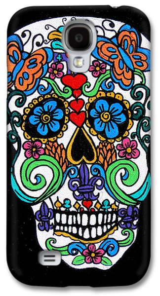 Day Of The Dead Skull Galaxy S4 Case by Genevieve Esson